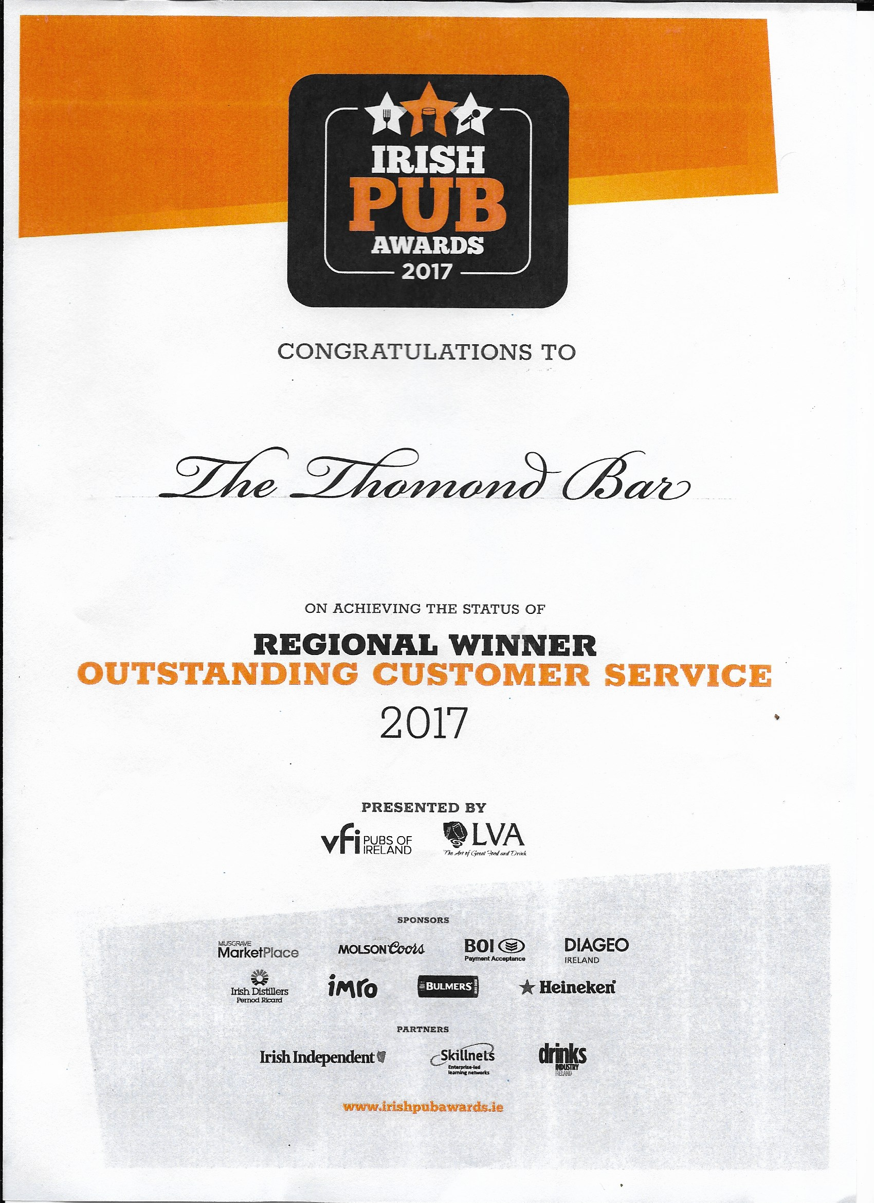 Irish Pub Awards 2017